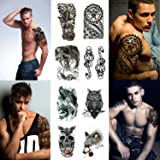 Large Temporary Tattoo Stickers 8 Sheets for Teens Guys Men, Playmax Fake Tattoo Biker Tattoo Waterproof Stickers for Arms Shoulders Chest & Back, Black