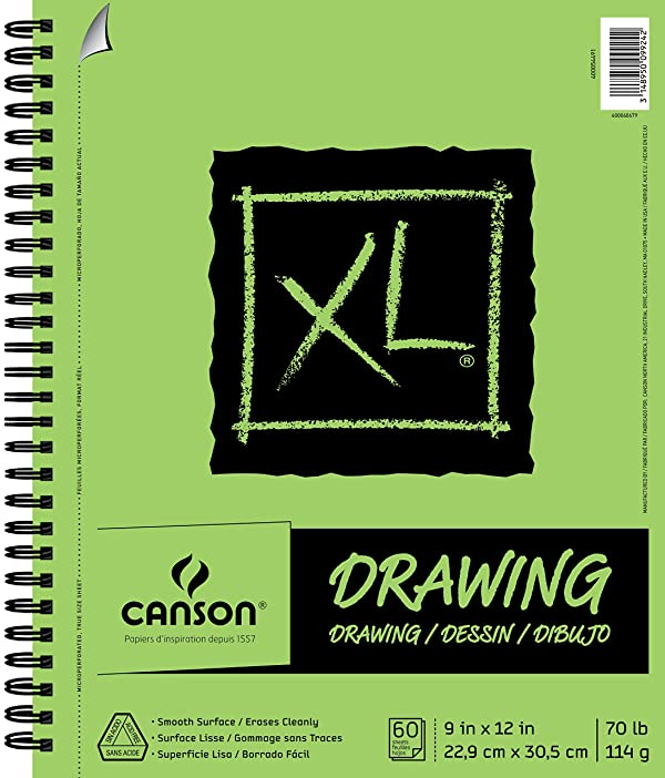 Canson XL Series Drawing Paper Pad, Micro Perforated, Smooth Surface, Side Wire Bound, 70 Pound, 9 x 12 Inch, 60 Sheets (Color: White, Tamaño: 9 x 12)