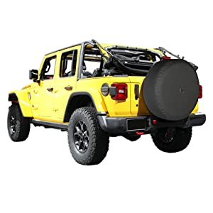 Boomerang - 33 Soft JL Tire Cover for Jeep Wrangler JL (with Back-up Camera) -Rubicon (2018-2020) - (285/70R17) - Black Denim Vinyl - Integrated Camera Hood (Tamaño: 33 - 285/70R17 - Rubicon)