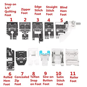 LEMONBEST Professional 11 Pcs Multifunction Presser Foot Spare Parts Accessories for Sewing Machine Brother Singer Janome Butterfly etc.