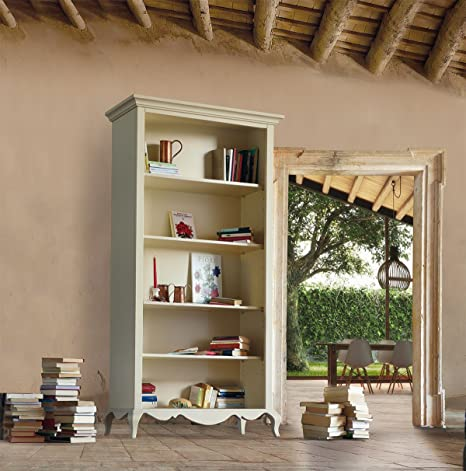 Libreria a giorno in legno, finitura sabbia