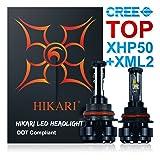 HIKARI LED Headlight Bulbs Conversion Kit -9004(HB1),TOP CREE (XHP50+XM-L2) 9600lm 6K Cool White CREE,2 Yr Warranty