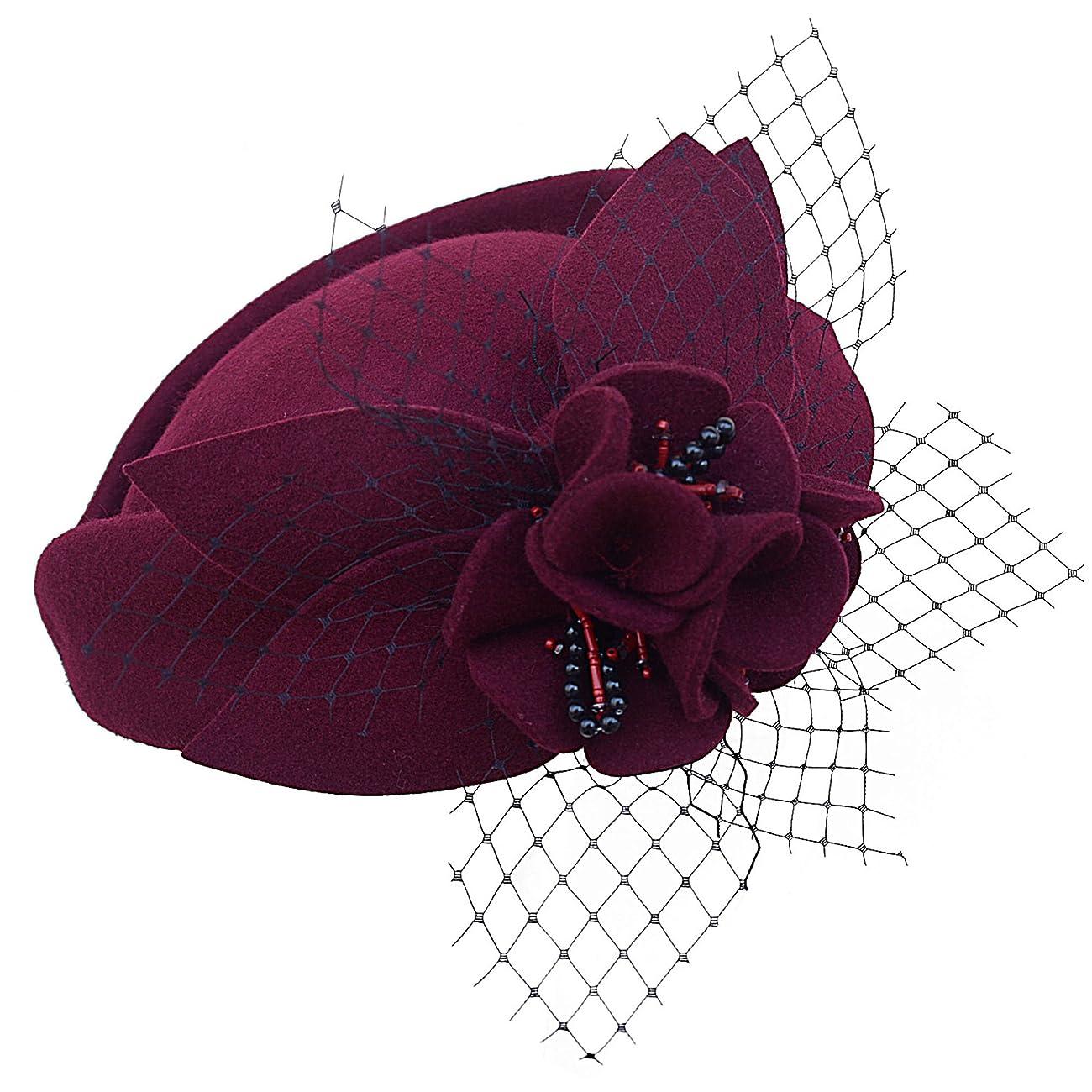 Wine Red Women Fascinator Pillbox Felt Wool Hat Formal Dress Flower Veil A131 2