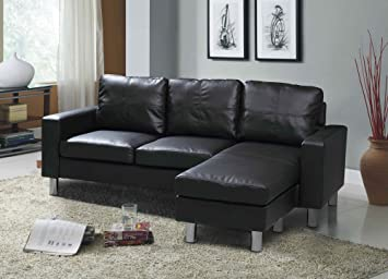 Sleep Design Relax - Divano angolare a 3 posti con chaise-longue, in similpelle, colori: nero, marrone o bianco moderno 3 posti nero