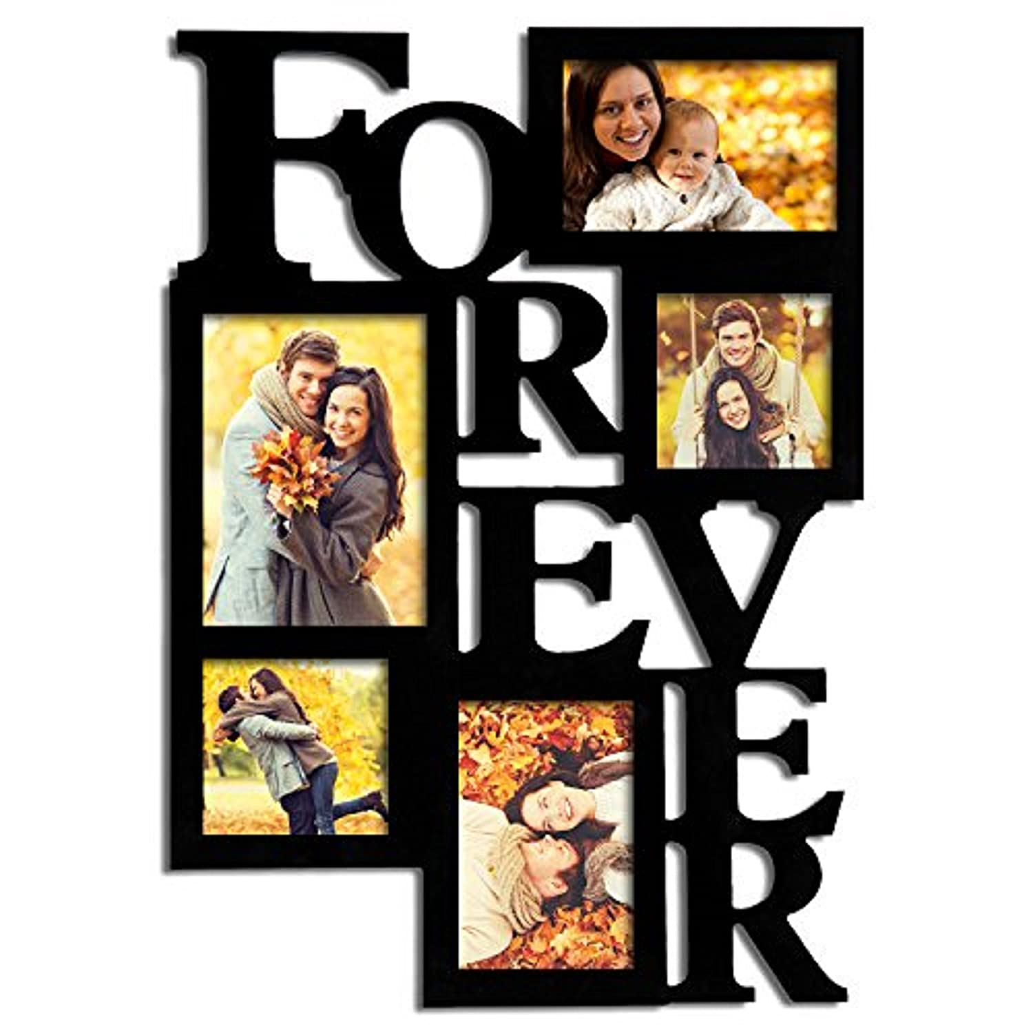 "Adeco 5-Opening Decorative Wood ""Forever"" Collage Wall Hanging Picture Frame, One 5 by 7-Inch/ Two 4 by 6-Inch/ Two 4 by 4-Inch, Black"