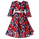 Bonny Billy Girls Round Neck Floral Audrey 1950s Fashion Vintage Swing Party Dress 7-8 Years Floral (Color: Floral Red, Tamaño: 7-8 Years)