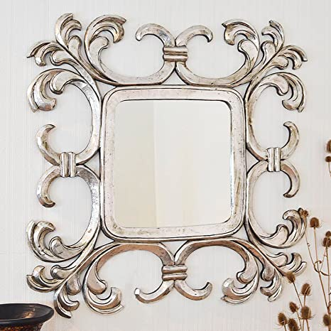 Large Silver Square Decorative Swirl Design Mirror 4FT x 4FT 121cm x 121cm