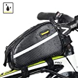 Sodee Bike Bag Top Tube Bag Front Tube Frame Bag Double Zipper Design Water Resistance Bicycle Bag Professional Cycling Accessories (Black) (Color: Carbon Black)