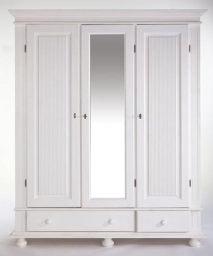 Kleiderschrank Kiefer massiv weiß 3 turig