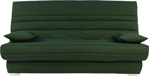 Sitzbank Schlafcouch Stoff grun Matratze sofaconfort Schaumstoff