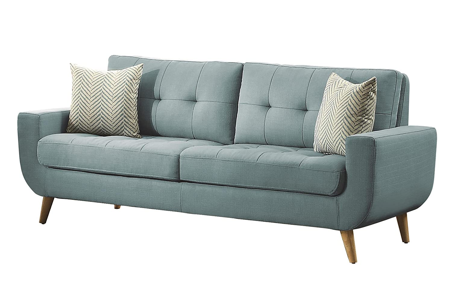 Homelegance Deryn Mid-Century Modern Sofa with Tufted Back and Two Herringbone Throw Pillows - Teal
