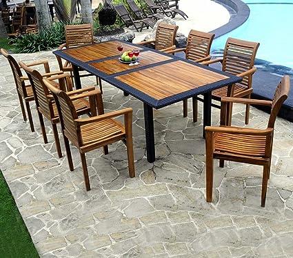 Mobili in legno teak, in resina intrecciata: Mobili da giardino, 8 posti