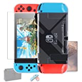 Dockable Case for Nintendo Switch [Updated],FYOUNG Protective Accessories Cover Case for Nintendo Switch and Nintendo Switch Joy-Con Controller with a Tempered Glass Screen Protector - Clear (Color: Clear)
