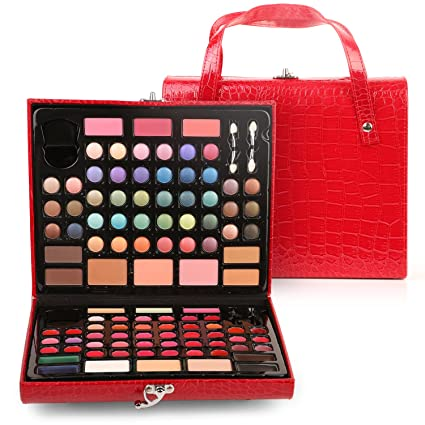 Ivation Complete Makeover Kit with Eyeshadows, Brow Brushes, Lip Glosses, Gel Eye Liners, Powder, and More