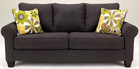 Ashley Nolana Microfiber Sofa in Charcoal