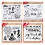Kwan Crafts 4 Sheets Different Style Christmas Tree Santa Clear Stamps for Card Making Decoration and DIY Scrapbooking (Color: clear)