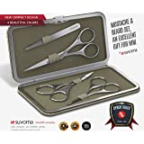 Suvorna Men's 4 Pcs Facial Hair Scissors Set / Kit. Contains 4.5