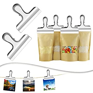 Set of 10 Heavy Duty Stainless Steel IPOW Chip Bag Clips,Great for Air Tight Seal Grip on Coffee & Food Bags, Kitchen Home Office Usage (Color: Silver)
