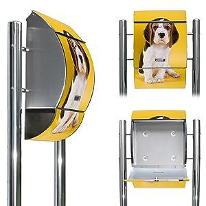 Edelstahl Standbriefkasten mit Fuß und Motiv Beagle   Kundenbewertung und weitere Informationen
