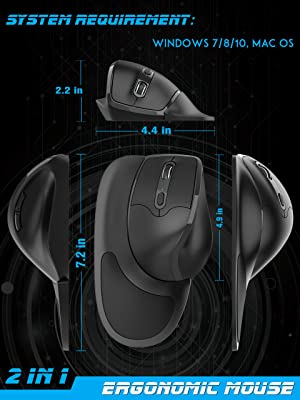 Newtral Wireless Left Handed Semi-Vertical Ergonomic Mouse, Left Handed Medium Size, All Buttons Programmable, 800/1600/2400 DPI, Detachable Magnetic Palm Support