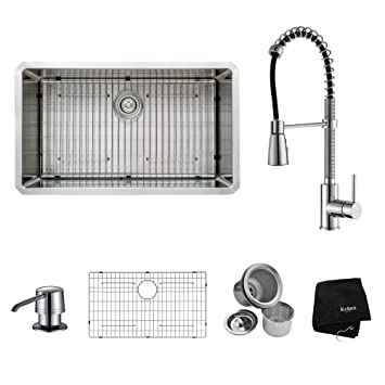 Kraus KHU100-32-KPF1612-KSD30CH 32 inch Undermount Single Bowl Stainless Steel Kitchen Sink with Chrome Kitchen Faucet and Soap Dispenser