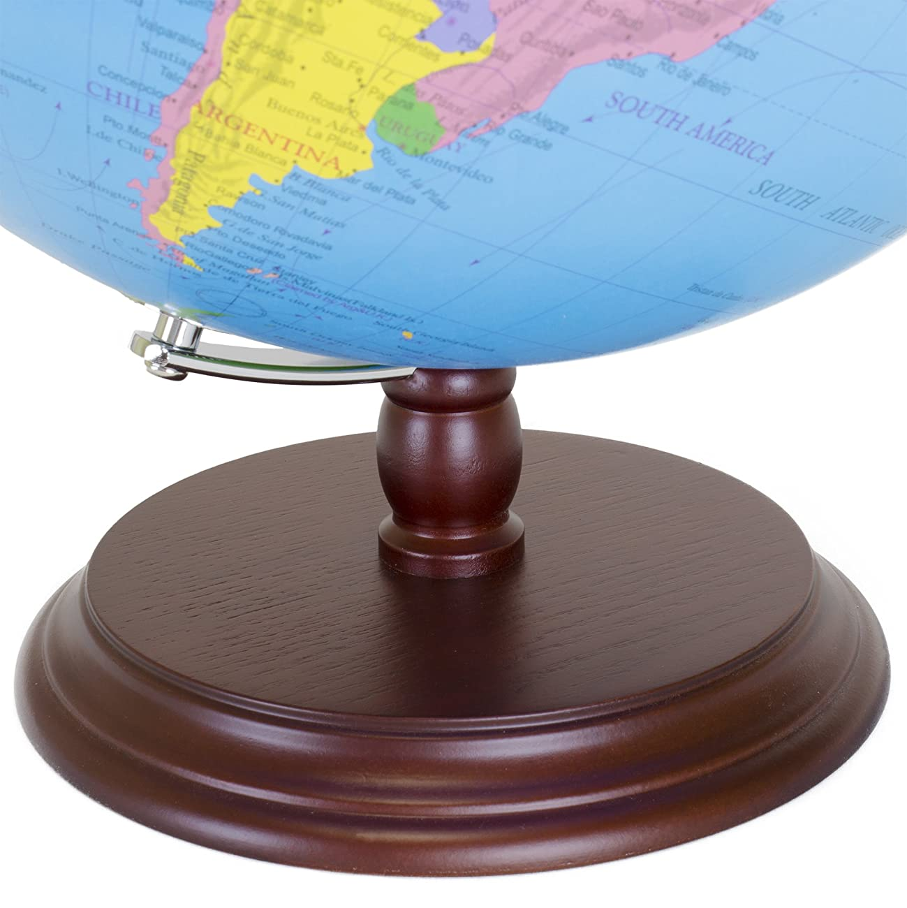 World Globe | 12 Inch Desktop Atlas with Antique Stand | Earth with Political Maps + Blue Oceans for Educational Geography | Classic Globo Vintage Spinning Perfect for Geographical National Kids Toys 2