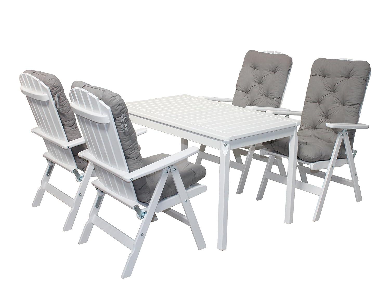 Ambientehome 90547 Gartengarnitur Gartenset Sitzgruppe verstellbare Klappstühle Stranda weiß inkl. graue Kissen und Tisch Evje 120x70 cm 9-teiliges Set