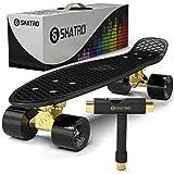 Skatro Mini Cruiser Skateboard. 22x6inch Retro Style Plastic Board Comes Complete (Color: Black Tiger)