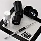 SILICONE ALLEY Pollen Press (1) Kit with Non Stick Mat (1), Stainless Steel Carver (1) and Nonstick Container Jar (5 ml) (1) (Color: Black)