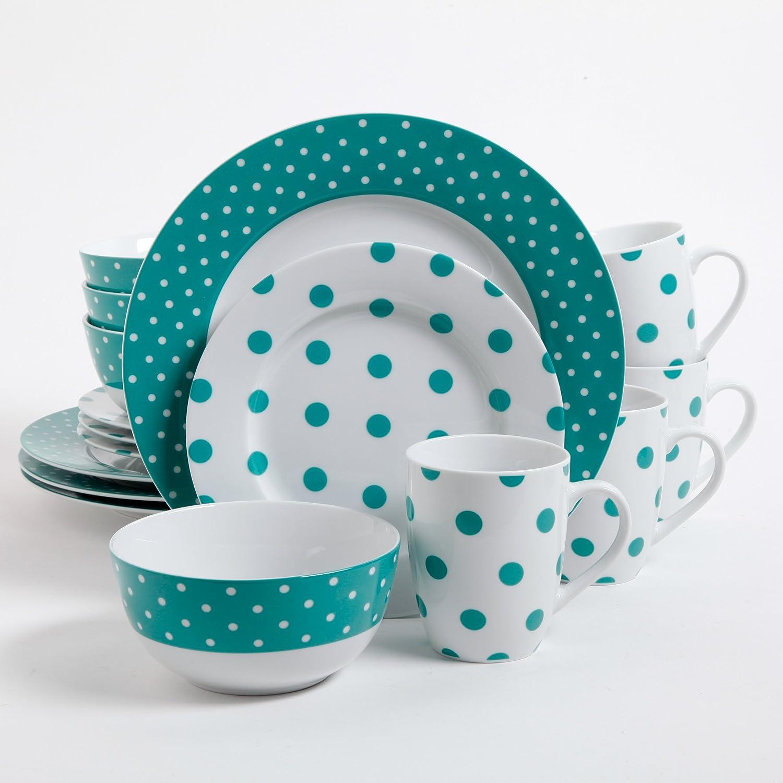 Isaac Mizrahi Dot Luxe 16-Piece Dinnerware Set, Teal | Isaac Mizrahi