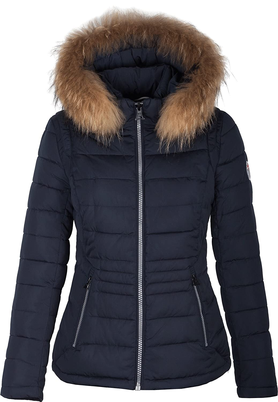 "5M89 Damen Winterjacke Skijacke in Daunen-Optik ""TARORE"" mit Echtfellkapuze blau günstig online kaufen"