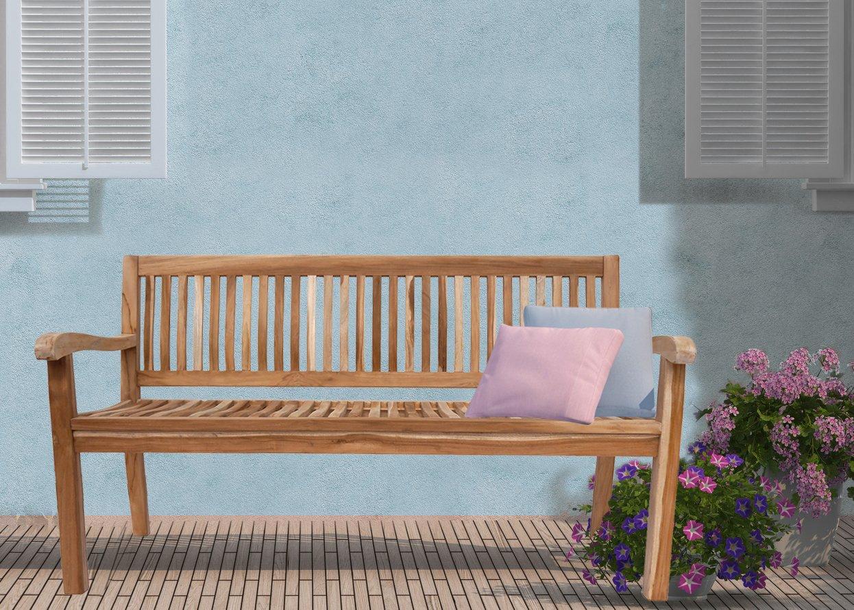 SAM® Teak-Holz, 3 Sitzer Gartenbank, Sitzbank, 150 cm, Kingsbury, massive Holzbank, ideal für den Balkon oder Garten günstig online kaufen