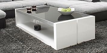 Couchtisch weiß Hochglanz mit Glasplatte Evo 130x70cm Glastisch Aluminium geburstet