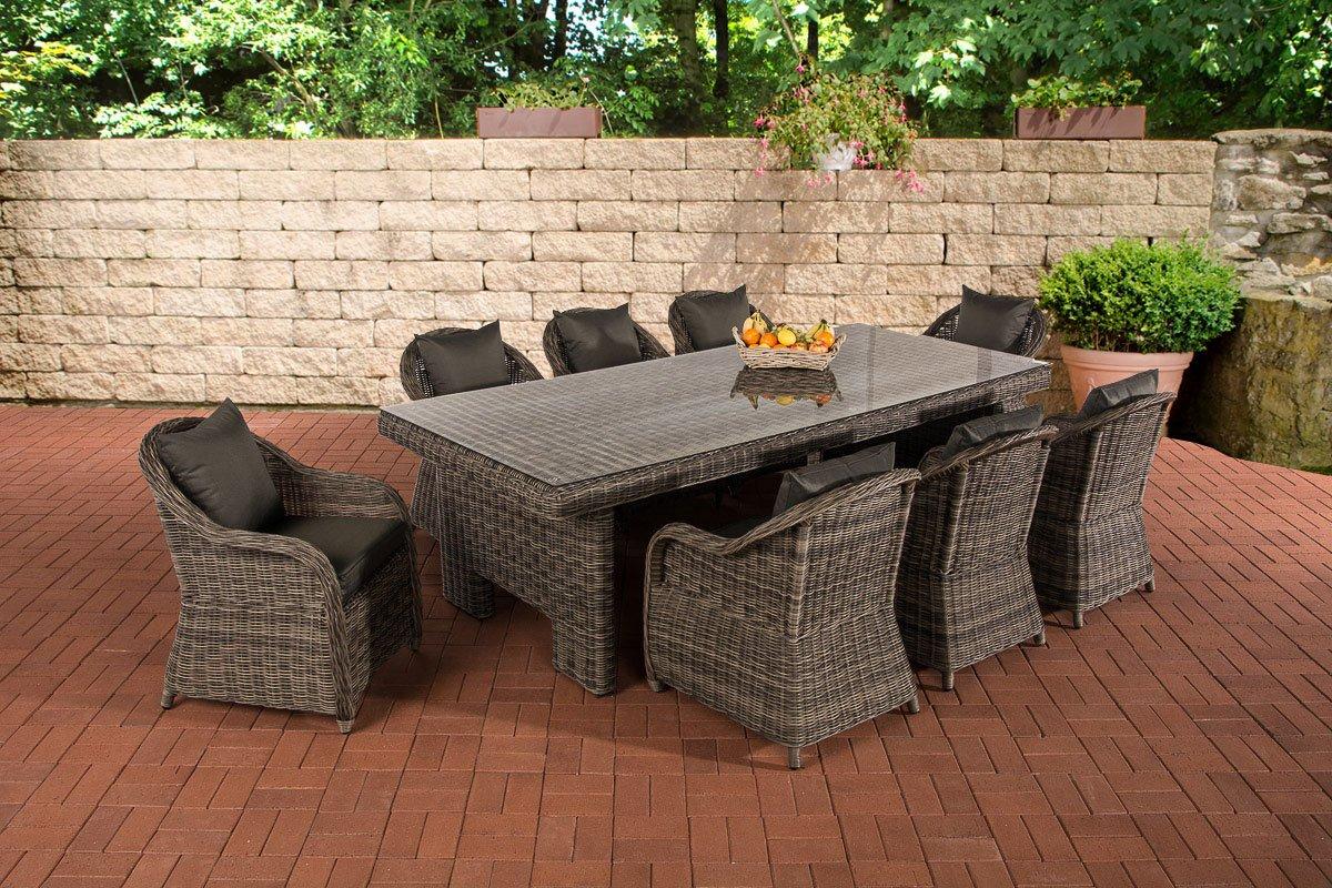 CLP Poly-Rattan Garten Sitzgruppe CANDELA XL grau-meliert, Farbwahl BEZÜGE, 8 Stühle + Esstisch ca. 250 x 110 cm, 5 mm Rund-Rattan grau-meliert, Bezugfarbe anthrazit