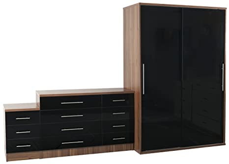 Sen Furniture Vienna Trio Set, Black/Teak