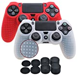 YoRHa Studded Silicone Cover Skin Case for Sony PS4/slim/Pro controller x 2(white+red) With Pro thumb grips x 8 (Color: white&red, Tamaño: studded pack)
