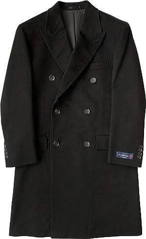 礼装倶楽部 カシミヤロングチェスターコート ダブル ブラック MR99405