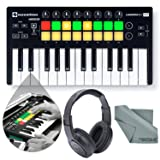 Novation Launchkey Mini MK2 25-Key USB MIDI Controller and Accessory Bundle with Headphones + Fibertique Cloth