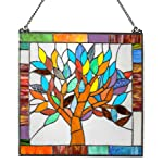 "River of Goods 15042 Tiffany Style Stained Glass Mystical World Tree Window Panel 18"" H"