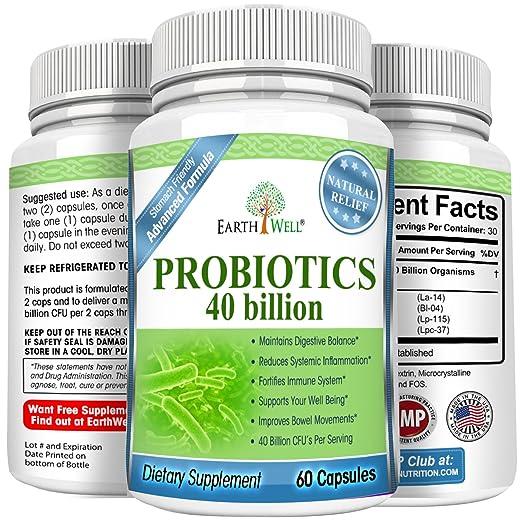 EarthWell 40 billion Probiotic Supplement for Women, Men and Children (60 Capsules)