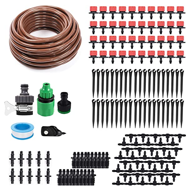 KORAM 100ft 1/4 Blank Distribution Tubing Irrigation Gardener's Greenhouse Plant Cooling Suite Watering Drip Repair and Expansion Kit Accessories include Universal Spigot Connector IR-2F (Tamaño: IR-2F)
