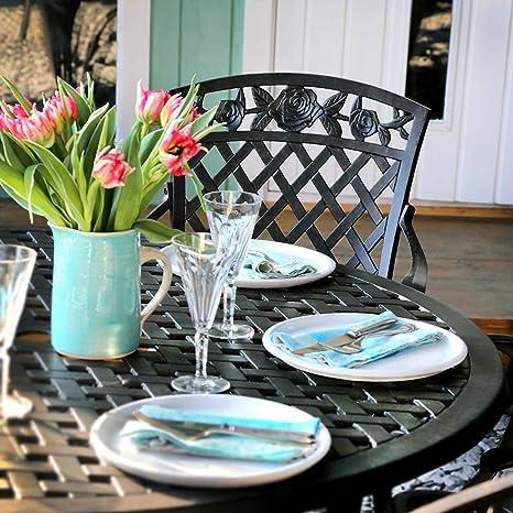 Lazy Susan - SARAH 120 cm Runder Gartentisch mit 4 Stuhlen - Gartenmöbel Set aus Metall, Antik Bronze (ROSE Stuhle)