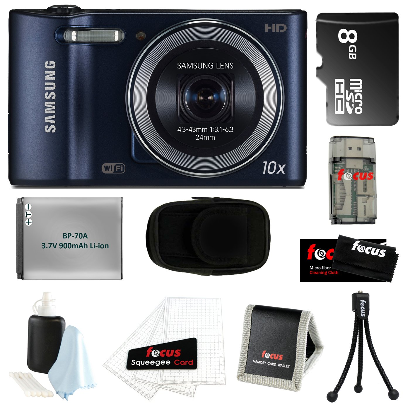 "Samsung WB30F 16.6MP HD Videos & WIFI Ready w/ 3"" Touch Screen Smart Digital Camera in Black + 8GB MicroSD HC Memory Card + More at Sears.com"