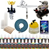 MASTER G22 Multi-purpose Airbrush Kit With Airbrush Depot Compressor and 24 color Set of Paints (Color: Deluxe Kit with Tank Compressor, Tamaño: Deluxe Kit with Tank Compressor)