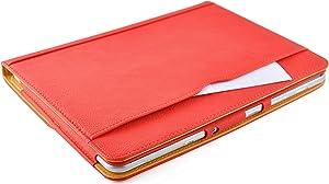 JAMMYLIZARD | Funda De Piel Para Samsung Galaxy NOTE 10.1 (2012) Tipo Libro Con Soporte, ROJO / CANELA  Electrónica Comentarios