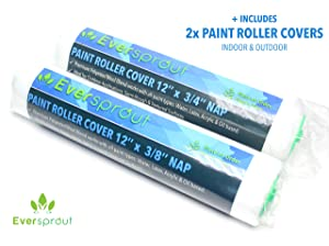 EVERSPROUT Paint Roller Kit | Extra Wide 12-inch Roller Frame, Corner Roller Brush, 2X Poly-Wool Paint Roller Covers for Indoor/Outdoor | Works w/All Paint Types | Twist-On Handle (Pole Not Included)