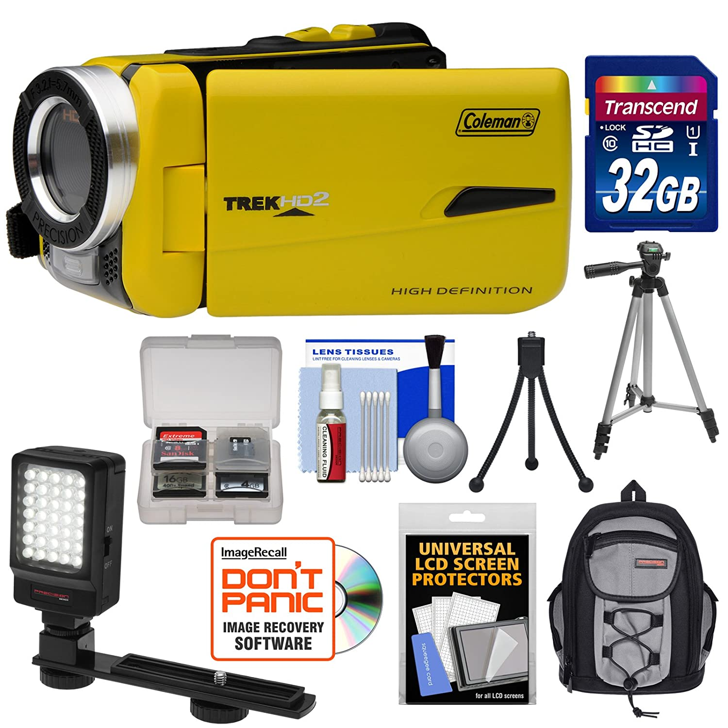 Coleman CVW20HD Waterproof HD Digital Video Camera Camcorder (Yellow) with 32GB Card + LED Light + Backpack Case + Tripod + Kit