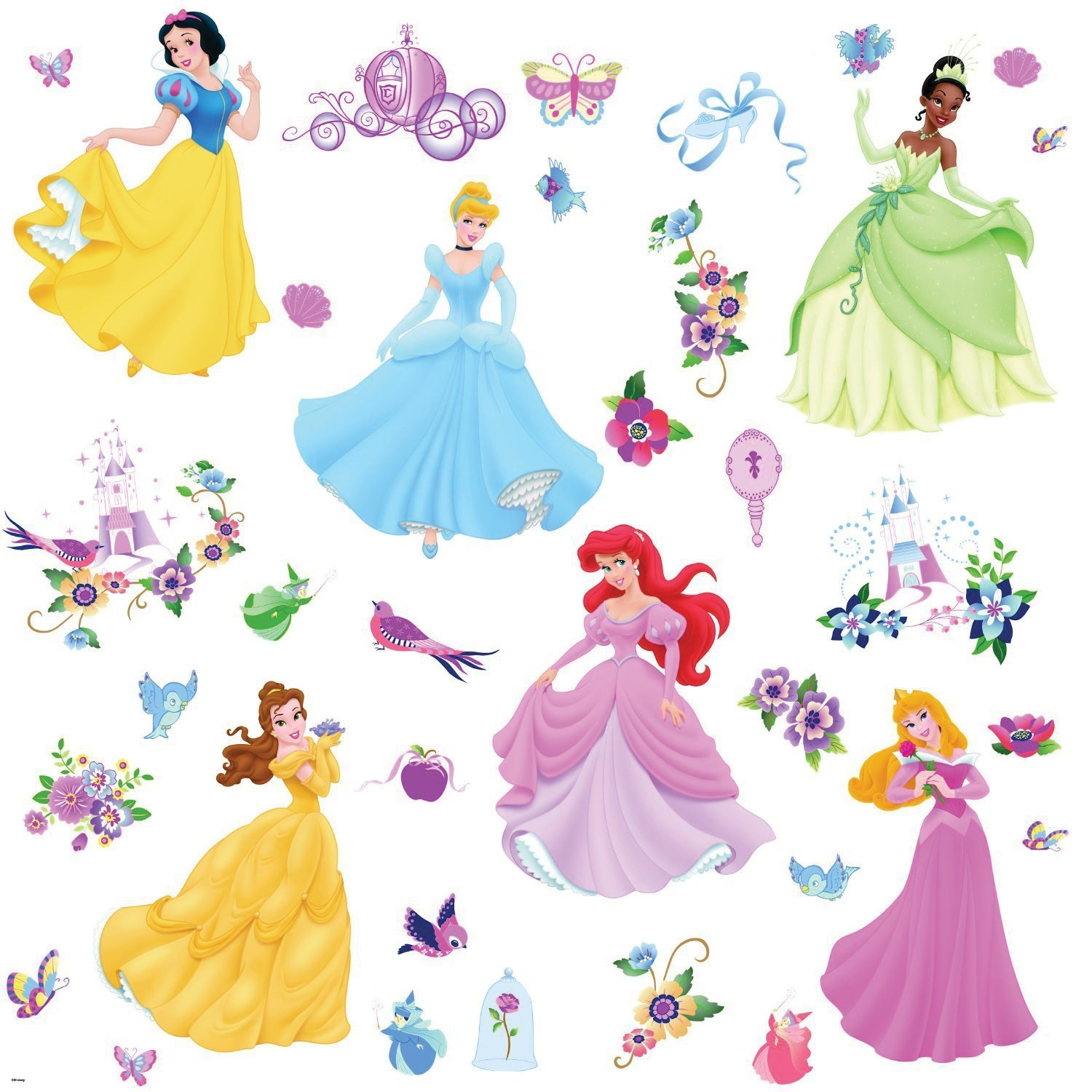 Wandsticker Disney Princess mit Glitzersteinen