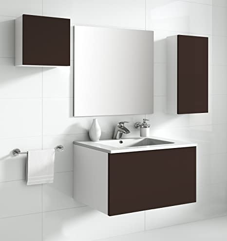 aleghe Eris Bathroom Cabinet, Chocolate Gloss