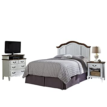 Home Styles 5518-6017 The French Countryside King/California King Headboard, Night Stand and Media Chest Set